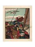 Medieval Sailors on a Sailboat