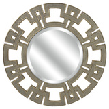 Metallic Greek Key Round Wall Mirror