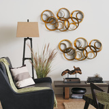 Athena Gold Leaf Circle Metal Wall Art