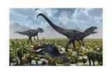A Pair of Allosaurus Dinosaurs Kill a Camptosaurus Dinosaur