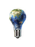 Light Bulb with Planet Earth Inside Glass  Asia View