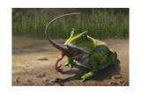 A Large Beelzebufo Frog Eating a Small Masiakasaurus