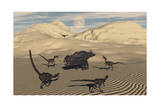A Pack of Velociraptors Encircling a Lone Protoceratops