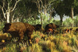 Diprotodon on the Edge of a Eucalyptus Forest with Some Early Kangaroos