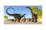 Herd of Apatosaurus Dinosaurs Wander Through a Prehistoric Forest
