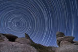 A Boulder Outcropping and Star Trails in Anza Borrego Desert State Park  California