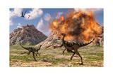 Pelecanimimus Dinosaurs Fleeing from a Volcanic Eruption