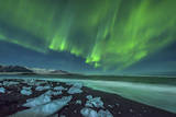Aurora Borealis over the Ice Beach Near Jokulsarlon  Iceland