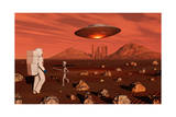 A Human Astronaut Making Contact with a Grey Alien on the Surface of Mars