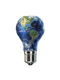 Light Bulb with Planet Earth Inside Glass  Americas View
