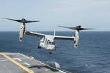 An MV-22B Osprey Lands Aboard the Amphibious Assault Ship USS Wasp