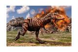 Tyrannosaurus Rex Escaping a Volcanic Eruption