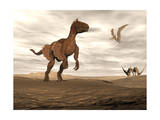 Velociraptor Dinosaur in Desert Landscape with Two Pteranodon Birds