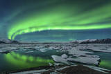 Aurora Borealis over the Glacial Lagoon Jokulsarlon in Iceland
