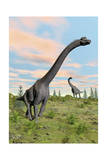 Two Brachiosaurus Dinosaurs in a Prehistoric Environment