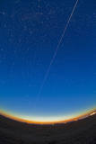 Trail of the International Space Station Coming Out of the Western Twilight