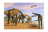A Brachiosaurus Herd Walks Down a Wet Sandy Beach