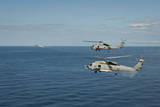 Mh-60R Sea Hawk Helicopters Launch Agm-114 Hellfire Missiles