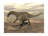 Large Dicraeosaurus Dinosaur Walking on Rocky Terrain