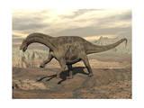 Large Dicraeosaurus Dinosaur Walking on Rocky Terrain