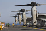Mv-22 Ospreys Sit Ready for Launch on the Flight Deck of USS Kearsarge