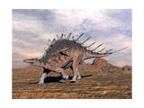 Kentrosaurus Dinosaur Walking in the Desert