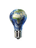 Light Bulb with Planet Earth Inside Glass  Africa and Europe View