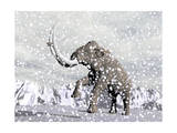 Mammoth Walking Through a Blizzard on Mountain