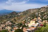 Taormina and Castelmola on the Right  with Mount Etna in Distance  Sicily  Italy  Europe