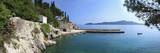 Panorama of Rocky Coast and Harbour  Trsteno  Dubrovnik  Croatia  Europe