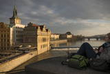 View over Vltava River  Prague  Czech Republic  Europe