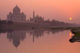 Taj Mahal Reflected in the Yamuna River at Sunset