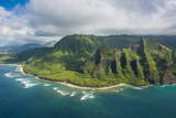 Aerial of the Napali Coast  Kauai  Hawaii  United States of America  Pacific