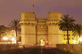 Torres De Serranos City Gate at Dusk  Valencia  Comunidad Valencia  Spain  Europe