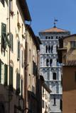 Via Di Poggio and the Campanile of San Michele  Lucca  Tuscany  Italy  Europe