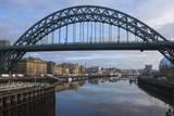 Tyne Bridge Framing the Quayside Sunday Morning Market and the Millennium Bridge
