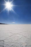 Backlit with Sun Star Shot of Hexagonal Shaped Salt Flats  Salar De Uyuni  Bolivia  South America