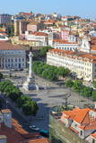 Aerial View of Rossio Square  Baixa  Lisbon  Portugal  Europe