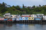 Colourful Houses in Castro  Chiloe  Chile  South America