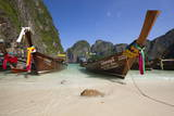Maya Bay with Long-Tail Boats  Phi Phi Lay Island  Krabi Province  Thailand  Southeast Asia  Asia