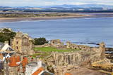 St Andrews Castle and West Sands from St Rules Tower at St Andrews Cathedral
