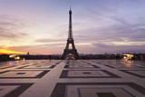 Trocadero and Eiffel Tower at Sunrise  Paris  Ile De France  France  Europe