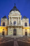 Pecs National Theatre at Dusk  Pecs  Southern Transdanubia  Hungary  Europe