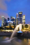 Merlion and Marina Bay Downtown Buildings  Singapore  Southeast Asia  Asia
