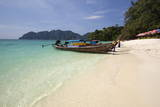 Long Beach with Long-Tail Boats  Koh Phi Phi  Krabi Province  Thailand  Southeast Asia  Asia