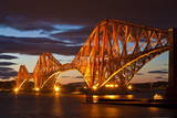 Forth Rail Bridge over the River Forth Illuminated at Night