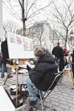 Painter at the Art Market at Place Du Tertre  Montmartre  Paris  Ile De France  France  Europe
