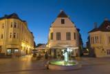 Gutenberg Square at Dusk  Gyor  Western Transdanubia  Hungary  Europe