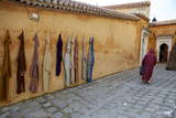 Djellaba Garments Hanging on a Wall  Chefchaouen  Morocco  North Africa  Africa