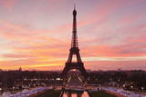 Eiffel Tower at Sunrise  Paris  Ile De France  France  Europe